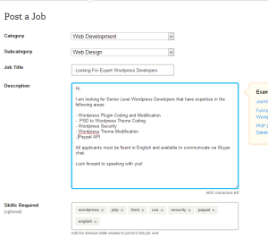 odesk job post example